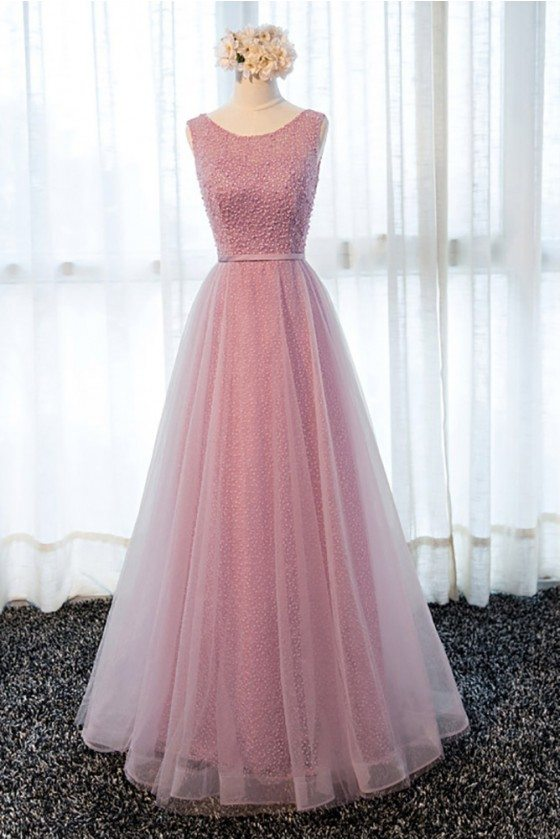 Gorgeous Rose Pink Long Beaded Formal Prom Dress With Tulle Beading