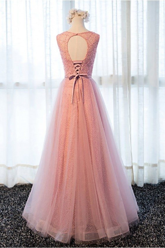 Gorgeous Rose Pink Long Beaded Formal Prom Dress With Tulle Beading ...