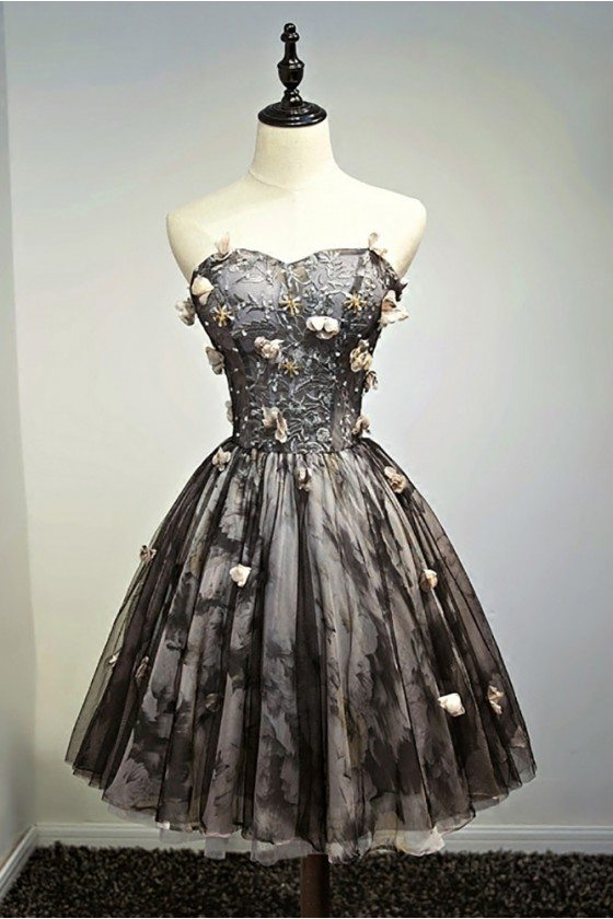 Unique Vintage Short Black Prom Homecoming Dress Ballgown With Flowers