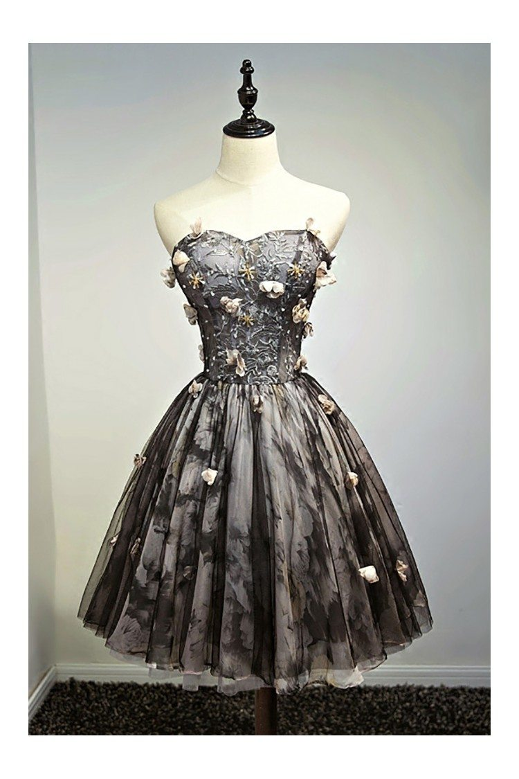 Unique Vintage Short Black Prom Homecoming Dress Ballgown