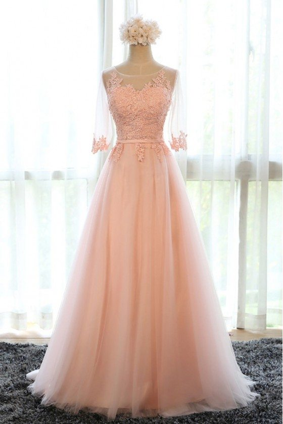 Beautiful Long Tulle Lace Prom Dress A Line With Tulle Half Sleeves