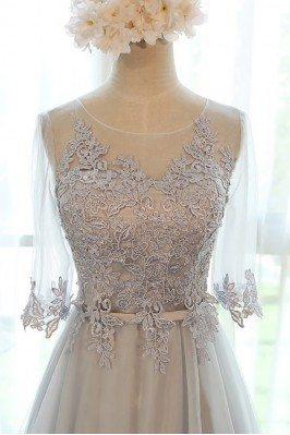 Scoop Neckline Ruffled Satin Long Purple Evening Dress scj113