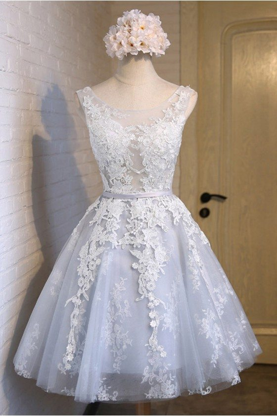 Cute Sleeveless Short Lace And Tulle Party Dress