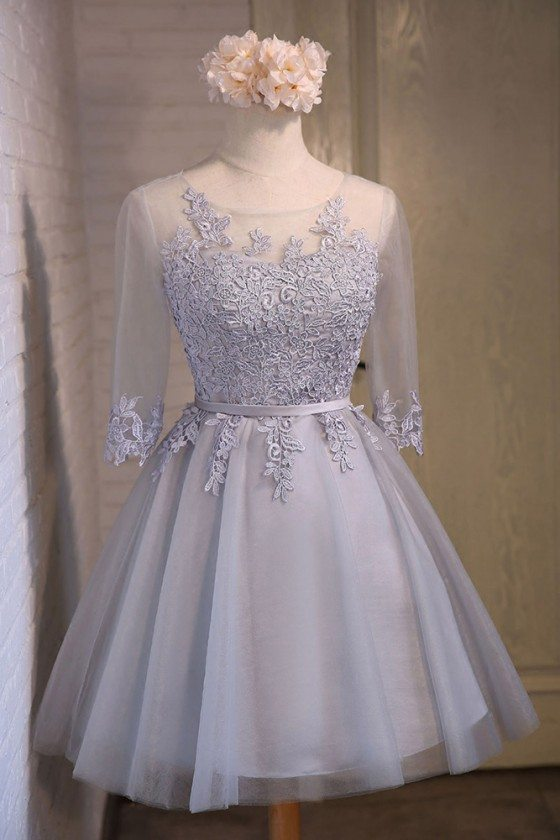 Elegant Short Tulle Homecoming Party Dress With Half Sleeves