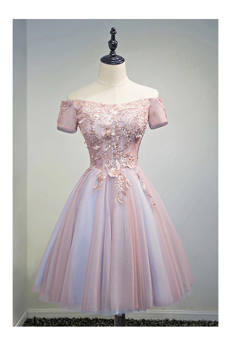 Unique Off Shoulder Pink Short Prom Party Dress With Lace