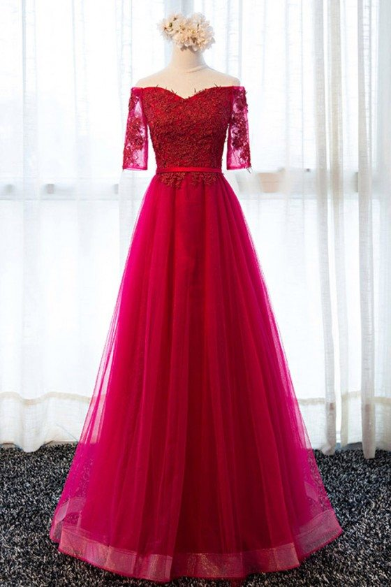 Elegant Fuchsia A Line Long Tulle Formal Party Dress With Sleeves