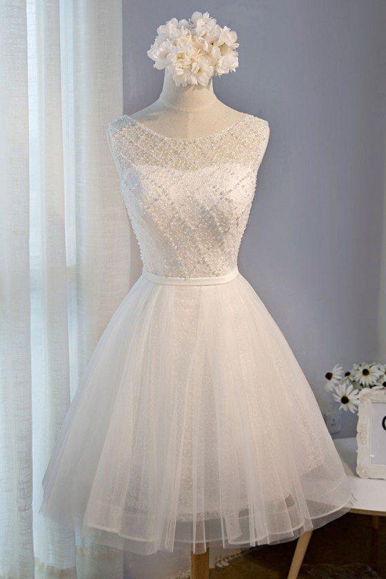 Classy Beaded White Short Party Dress Tulle Sleeveless