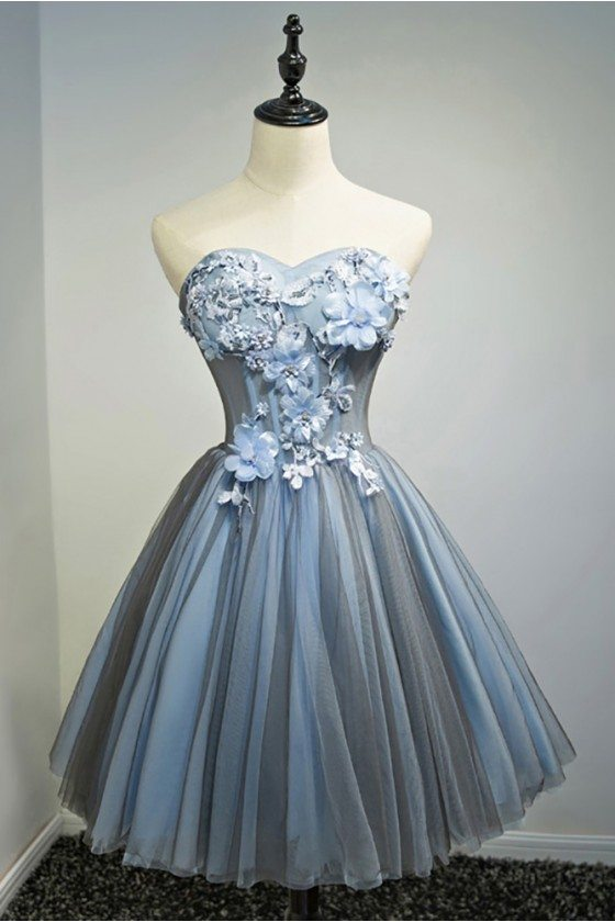 Unique Dusty Blue Sweetheart Ballgown Short Prom Party Dress With Flowers
