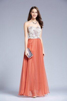 Lace Long Chiffon Sweetheart Prom Dress