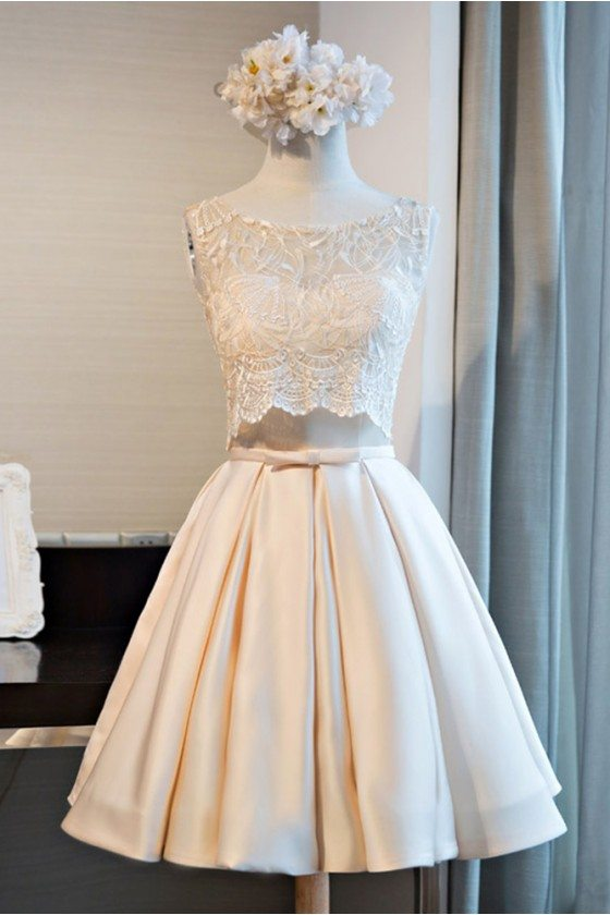 Unique Short Lace Sleeveless Party Dress A Line Satin Style