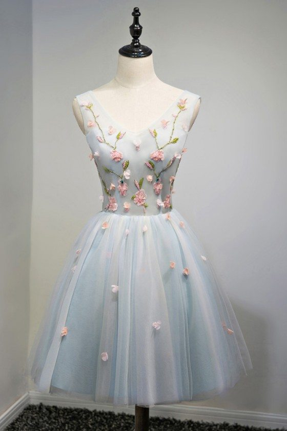 Unique V-neck Dusty Blue Tulle Short Prom Party Dress With Flowers