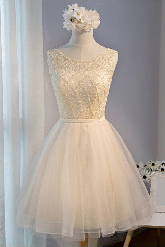 Classy Champagne Beaded Short Tulle Homecoming Party Dress Sleeveless