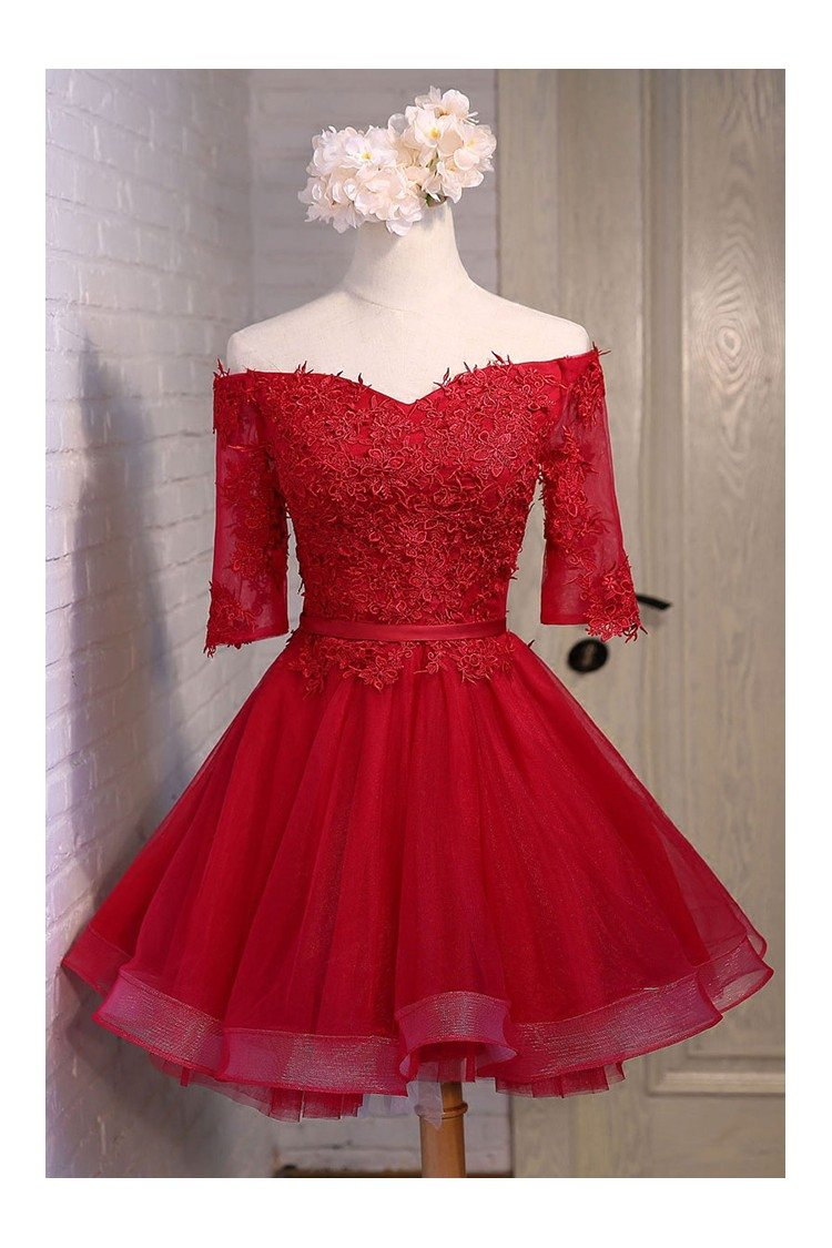 Red Lace Off The Shoulder Short Tulle Party Dress With