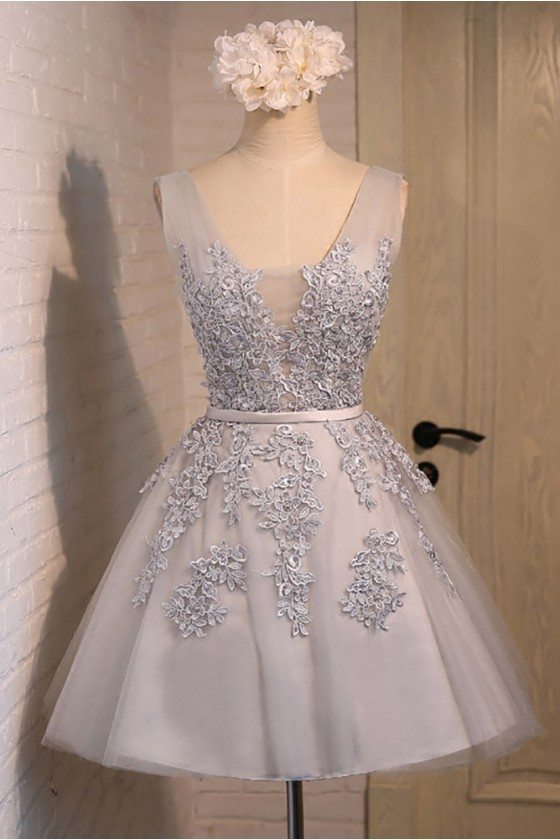 Gorgeous Lace Tulle Short Homecoming Party Dress Sleeveless