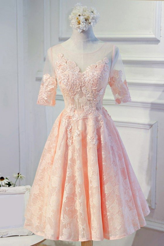 Modest Pink Lace Short Formal Party Dress With Sleeves