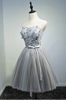 Beaded Grey Tulle Short...