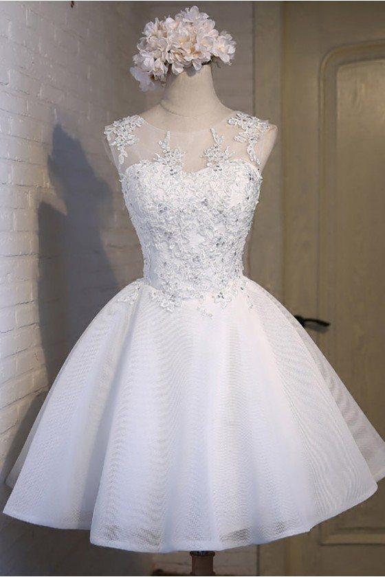 Gorgeous White Ballgown Lace Short Prom Party Dress Sleeveless