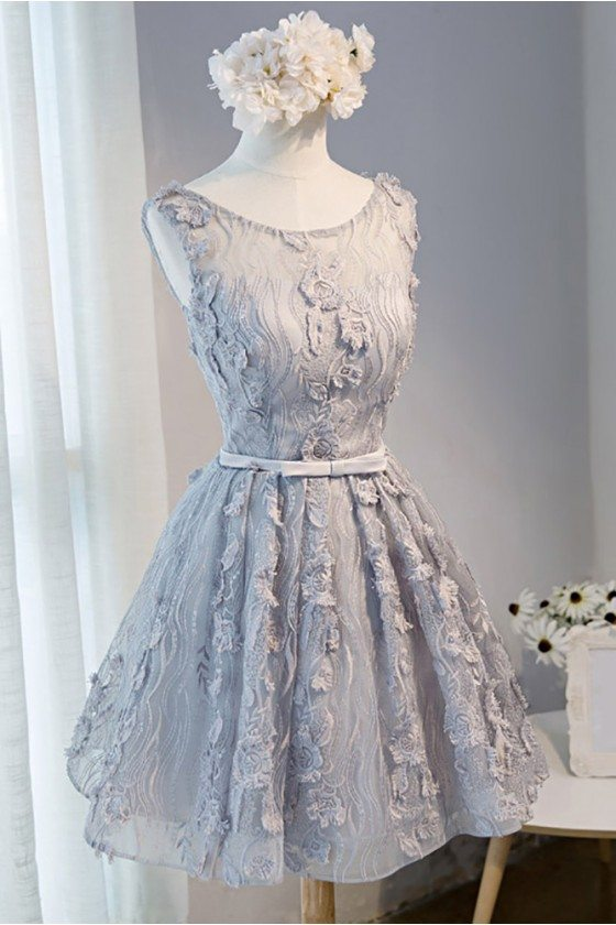 Unique Lace Sleeveless Short Formal Party Dress Sleeveless 109