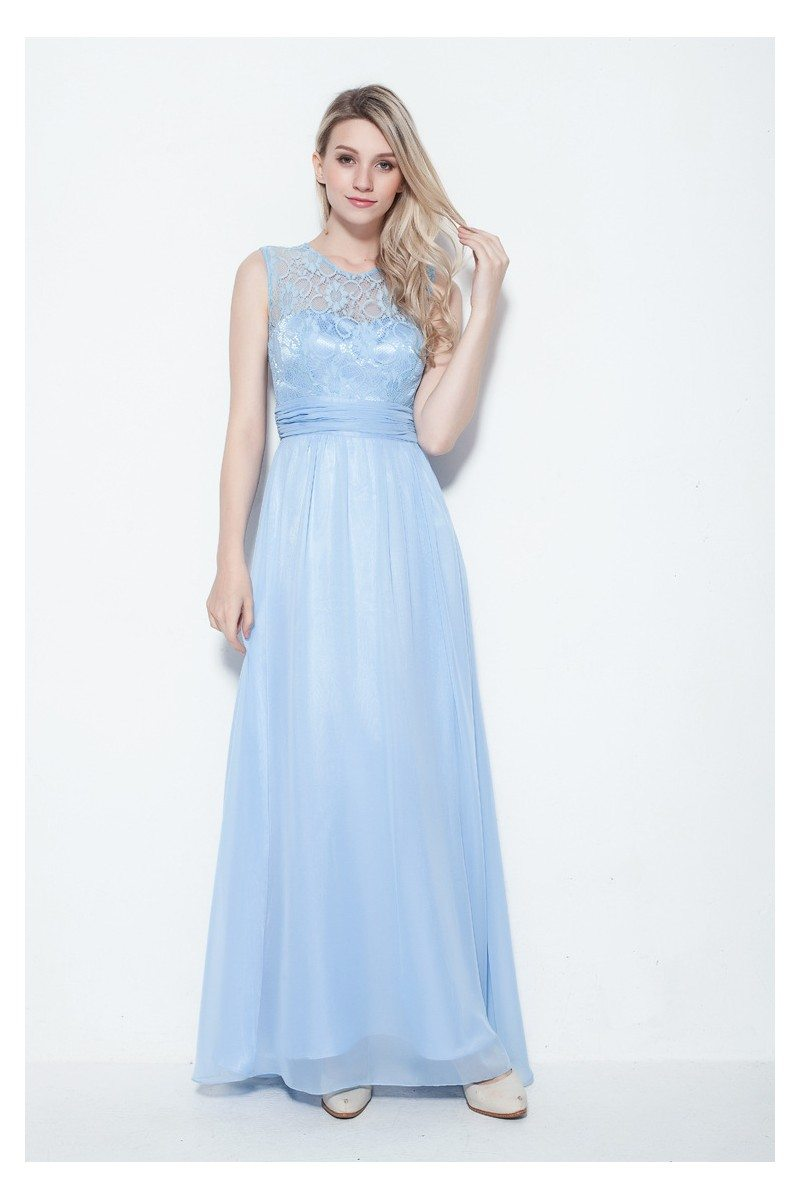 Embroidery Long Chiffon Party Dress - $95 #CK255 - SheProm.com