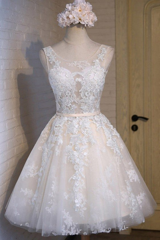White With Champagne Lace Short Party Dress Sleeveless