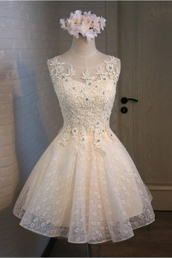 Vintage Champagne Beaded Lace Short Prom Party Dress Sleeveless