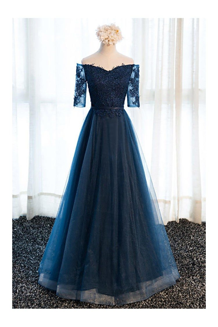 gorgeous navy blue long tulle prom dress off the shoulder sleeves -  128  mds17057
