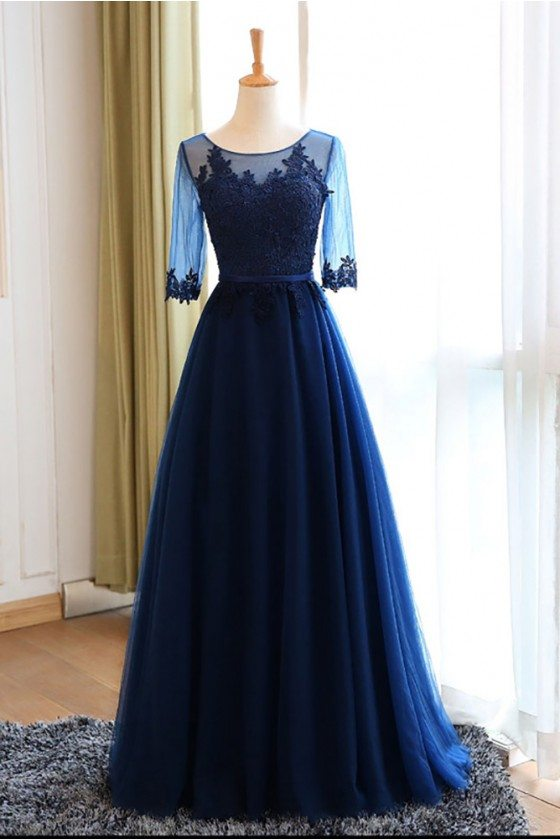 Classy Navy Blue Long Formal Party Dress A Line With Sleeves