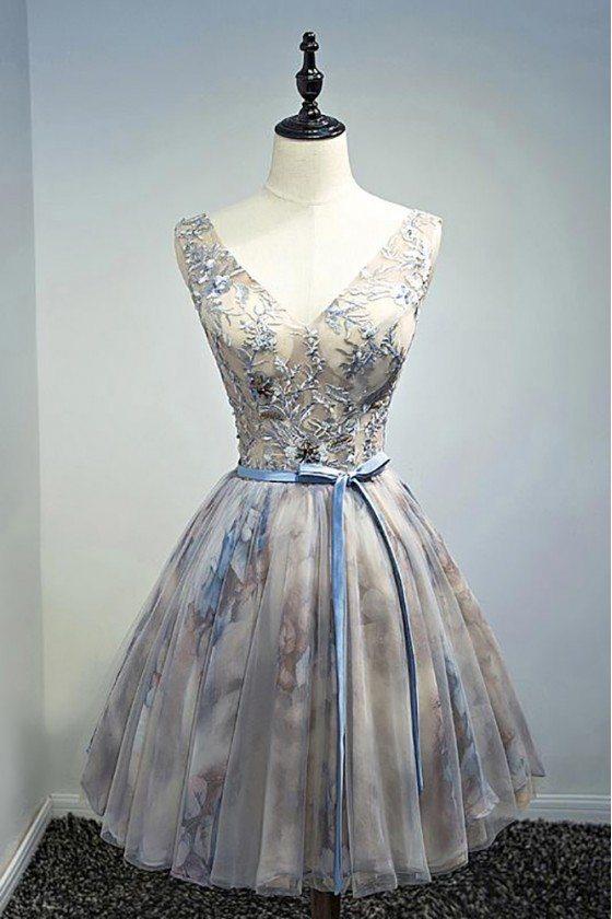 Vintage Beaded Floral Short Party Dress V-neck With Sash