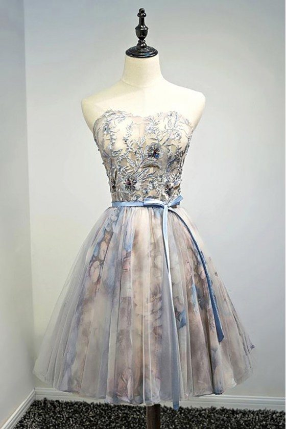 Beaded Floral Strapless Short Formal Party Dress With Sash