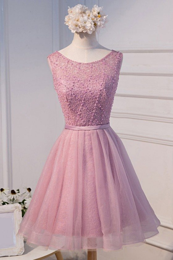 Pink Round Neck Beaded Short Homecoming Party Dress With Beading
