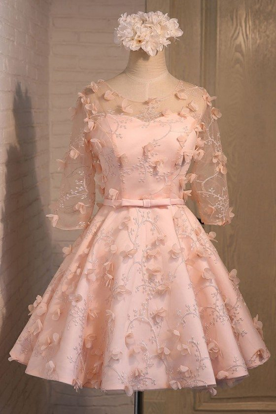 Cute Short Pink Homecoming Party Dress With Petals