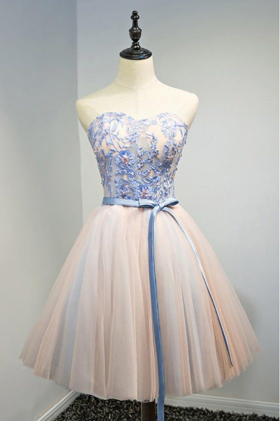 Blue With Pink Short Party Dress Sweetheart With Sash