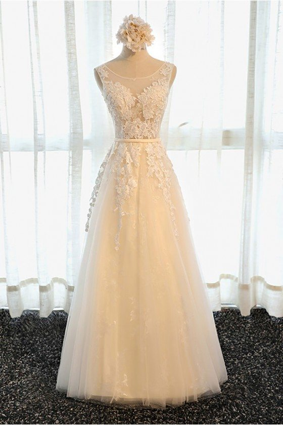 Gorgeous Champagne Long Lace Formal Prom Dress A Line Sleeveless