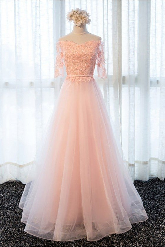 Gorgeous Long Pink Tulle A Line Prom Dress Off The Shoulder With Sleeves