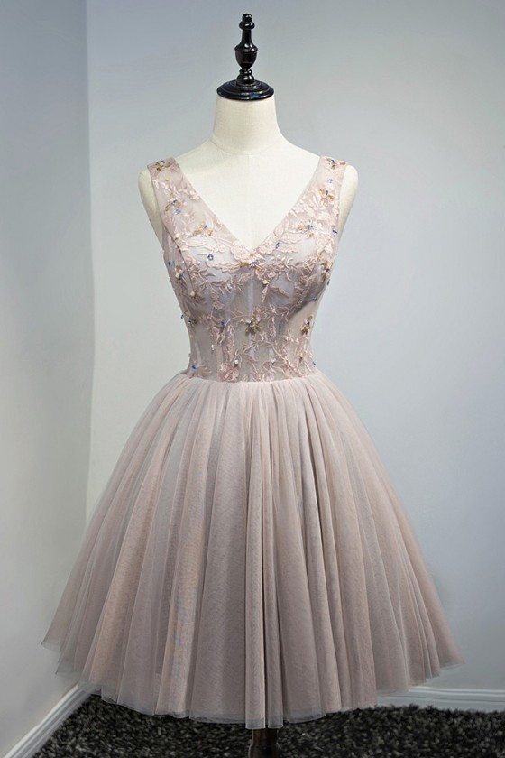 Vintage Dusty Pink V-neck Short Prom Homecoming Dress With Beading