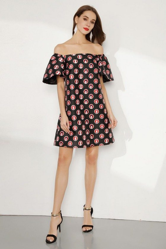 Ladies Printed Short Party Dress With Off Shoulder Flare Sleeves
