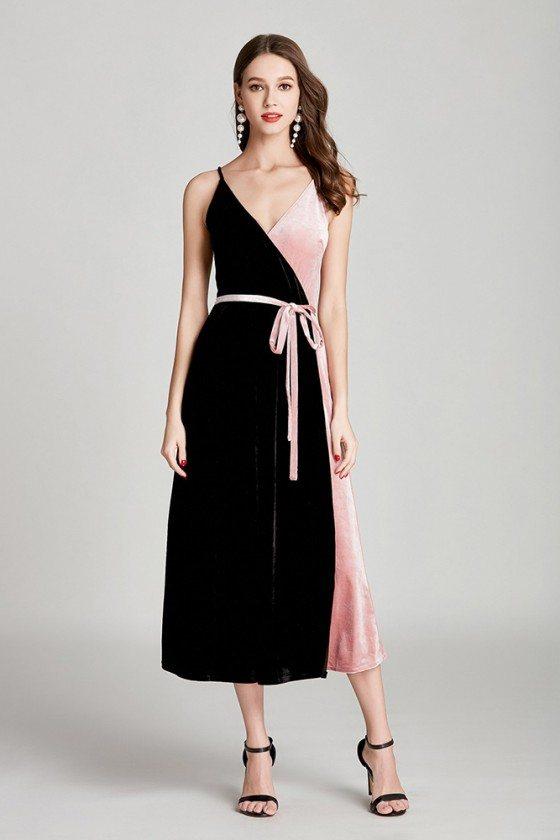 Black And Pink Velvet Tea Length Formal Dress V Neck With Sash