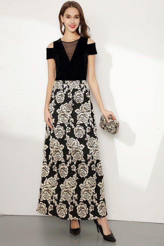 Embroidery Floral Black Long Formal Dress With Cold Shoulder