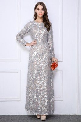 Silver Sequin Embroidery Long Sleeve Formal Dress