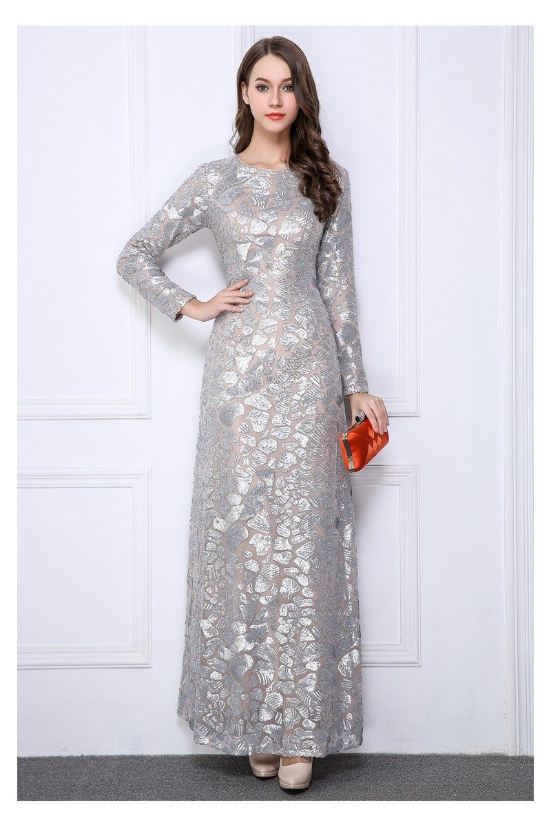 Silver Sequin Embroidery Long Sleeve Formal Dress - $129 #CK261 ...