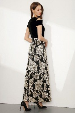 Gorgeous Beaded Brown V Neck and Back Cap Sleeved Prom Dress sck013