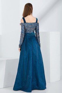 Sale Cute Front Bow Blue Chiffon One Shoulder Beaded Prom Dress scx560