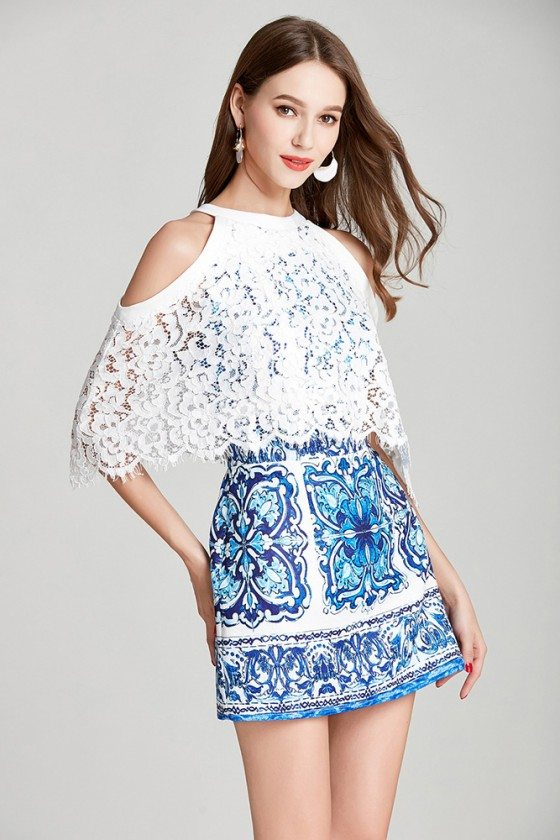 Blue And White Cape Lace Cocktail Party Dress In Cold Shoulder