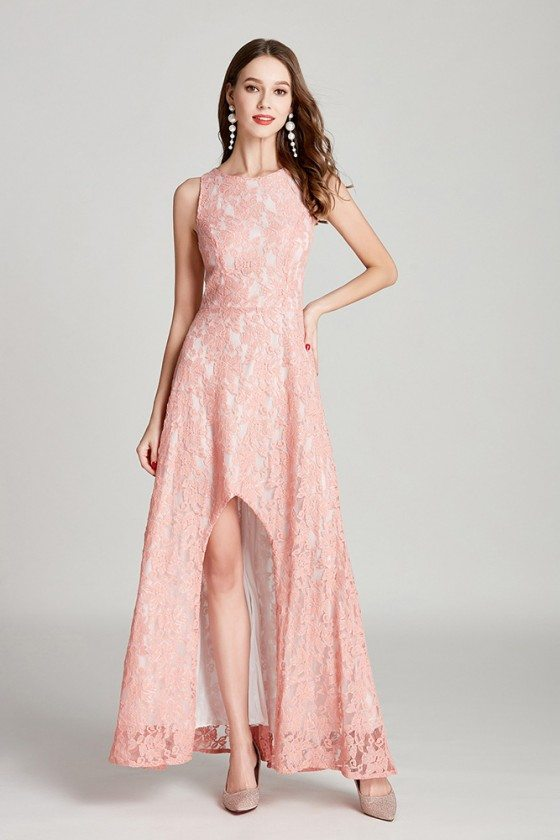 All Lace High Low Pink Long Formal Dress Sleeveless For Woman