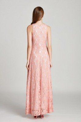 Unique Flower Lace Half Sleeves Champagne Long Evening Dresses scj532