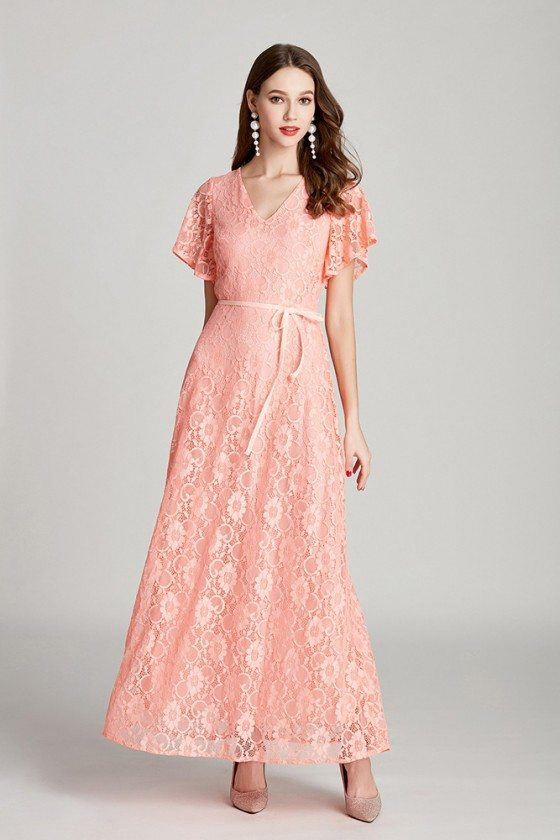 Elegant Long Pink Lace V Neck Formal Dress With Flare Sleeves