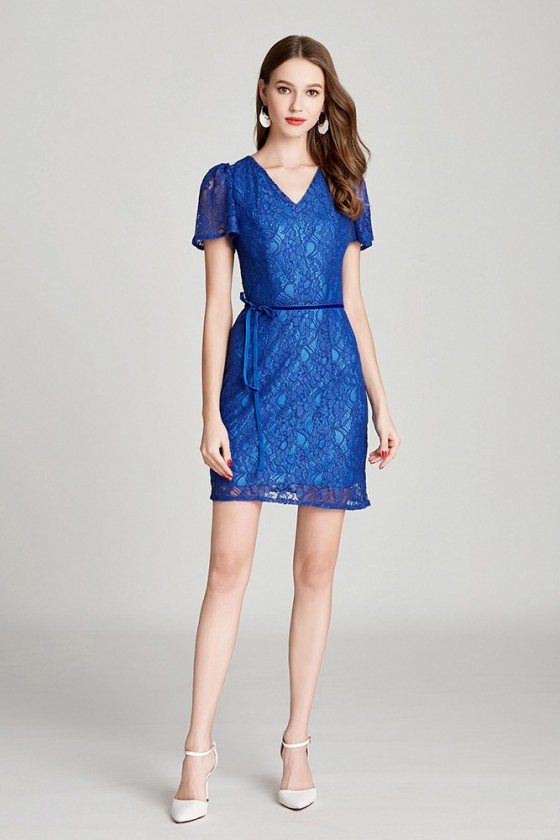 Short Lace Blue V Neck Party Dress With Sash Sleeves