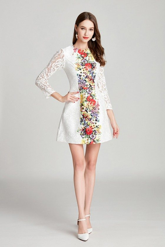 Modest Fashion Printed White Lace Short Party Dress With Long Sleeves