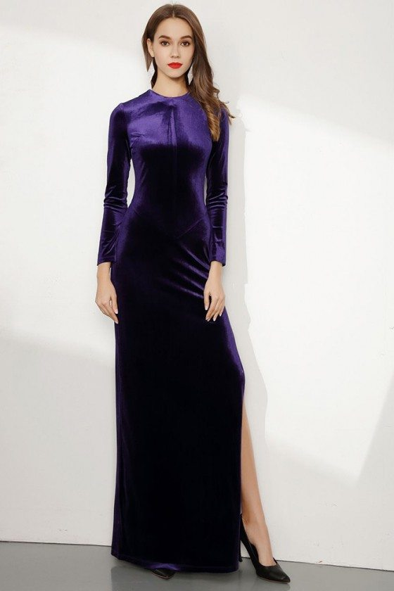 Long Purple Sleeved Fitted Velvet Evening Dress With Side Slit