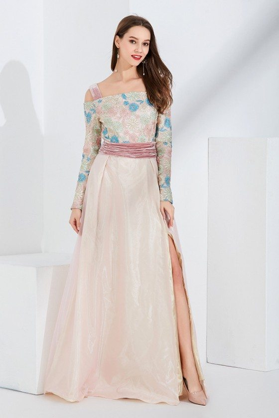Unique Pink Embroidery Velvet Formal Dress With Off Shoulder Long Sleeves